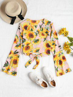 Sunflower Print Wrap Blouse - Light Pink L