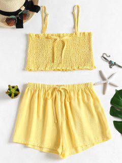 Smocked Cami Top And Shorts Set - Yellow M