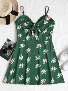 Floral Print Knotted Cami Dress - Medium Forest Green L