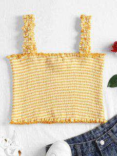Striped Ruffle Straps Tank Top - Rubber Ducky Yellow M