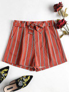 Striped Belted Shorts - Chestnut Red L