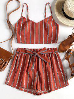 Striped Cami Belted Shorts Set - Chestnut Red M