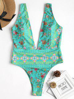 Printed Plunge Swimsuit - Blue Green M