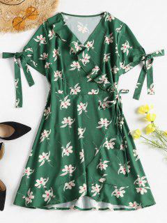 Floral Print Ruffles Wrap Dress - Medium Forest Green L