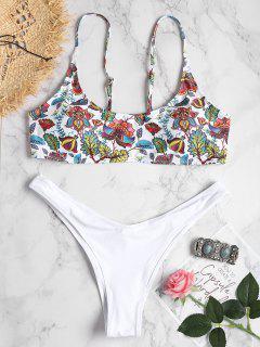 Plant Print Plus Size Bralette Bikini - White 1x