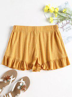 Pantalones Cortos De Talle Alto Con Volantes Acanalados - Amarilla De Abeja  S