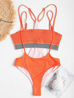 High Leg Smocked Slip Two Piece Swimsuit - Orange S