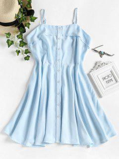 Button Up Cami Dress - Light Blue L