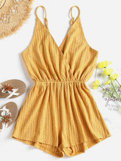 Ribbed Surplice Cute Cami Romper - Bee Yellow M