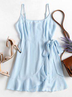 Rüschen Cami Überlappung Kleid - Hellblau L