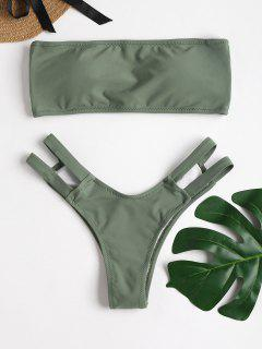 Strappy Back Bandeau Bikini Set - Dark Sea Green L