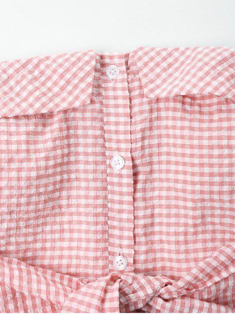 sale Front Tie Gingham Bandeau Top - PINK XL Mobile
