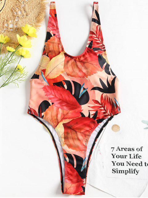 ladies Leaf Print High Cut Swimsuit - MULTI S Mobile