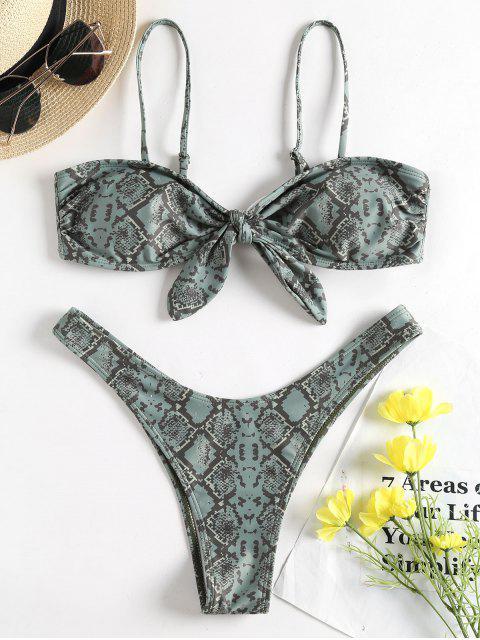 Ensemble Bikini à Peau de Serpent à Noeud Papillon - Vert Foncé de Mer S Mobile