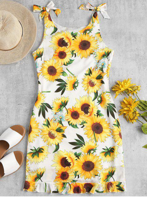 hot Ruffle Hem Sunflower Dress - WHITE M Mobile