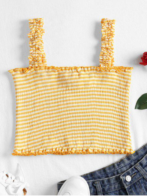 Striped Ruffle Straps Tank Top - Caucho Ducky Amarillo L Mobile