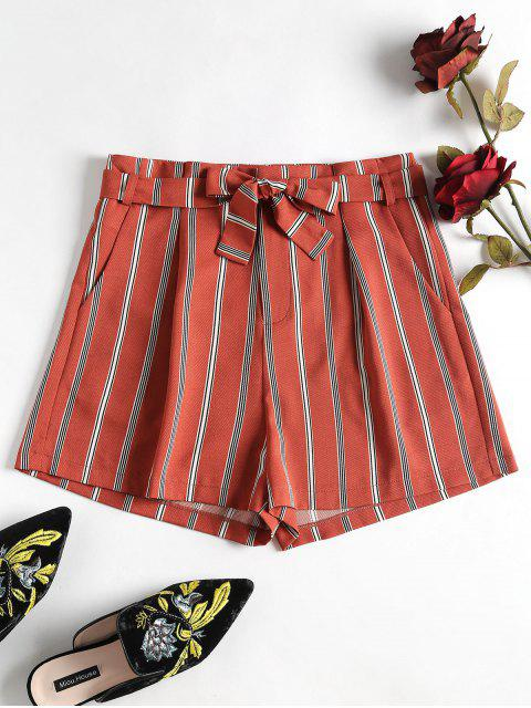 trendy Striped Belted Shorts - CHESTNUT RED M Mobile