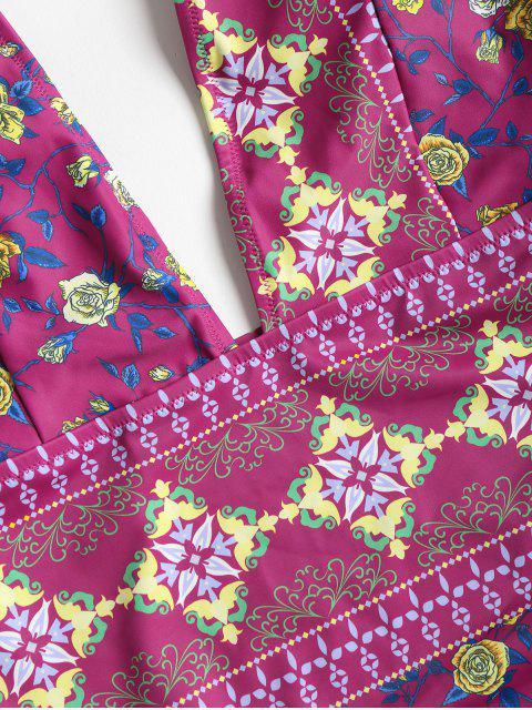 ladies Printed Plunge Swimsuit - MEDIUM ORCHID M Mobile