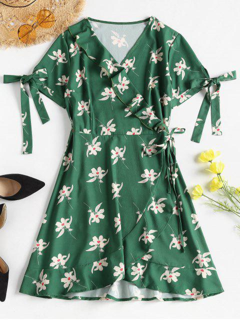 hot Floral Print Ruffles Wrap Dress - MEDIUM FOREST GREEN L Mobile