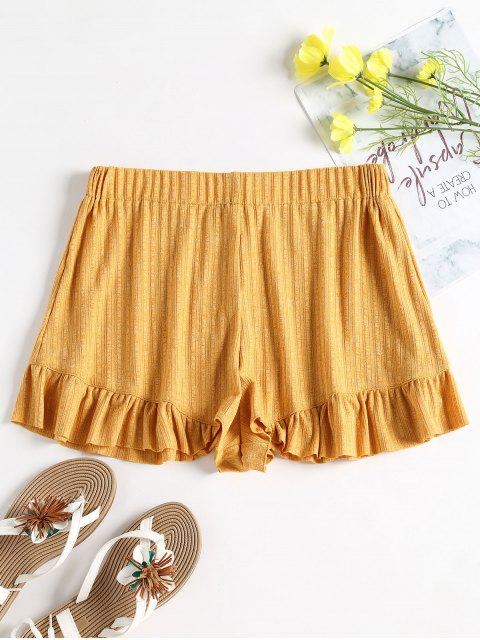 sale Ribbed Ruffle High Waisted Shorts - BEE YELLOW L Mobile