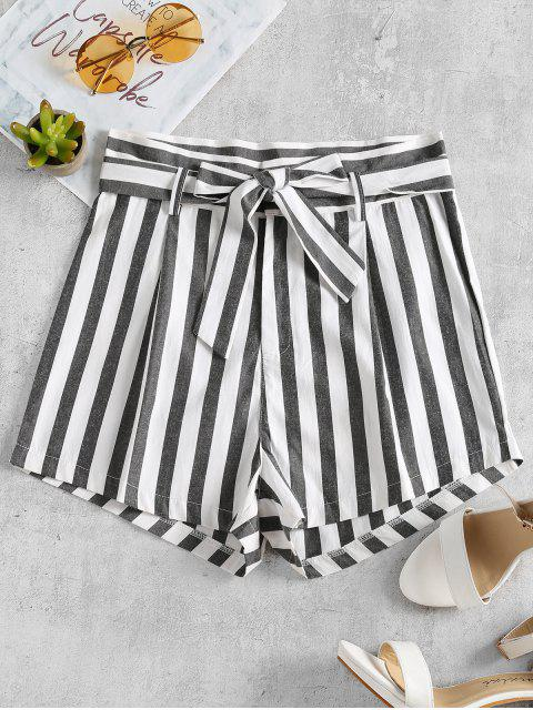 women's Stripes Belted Shorts - WHITE S Mobile