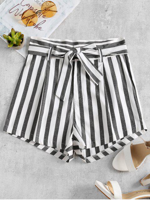 Stripes Belted Shorts - Blanco L Mobile