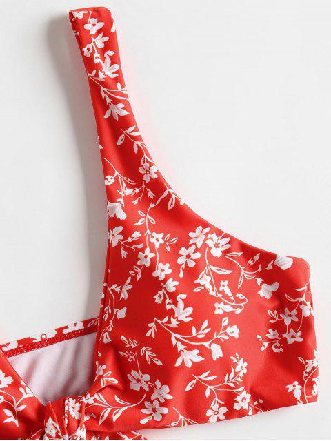 Ensemble de Bikini Noué à Taille Basse Floral - Rouge L Mobile