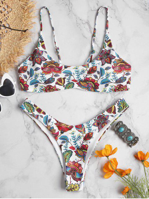 Bikini de pierna alta con estampado de plantas - Blanco M Mobile