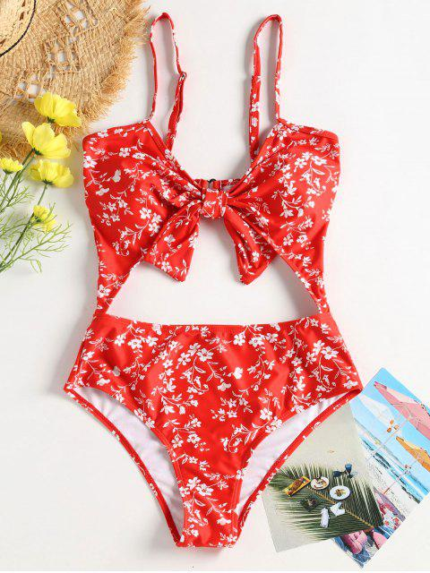 affordable Floral Cut-Out Knotted Swimsuit - RED M Mobile
