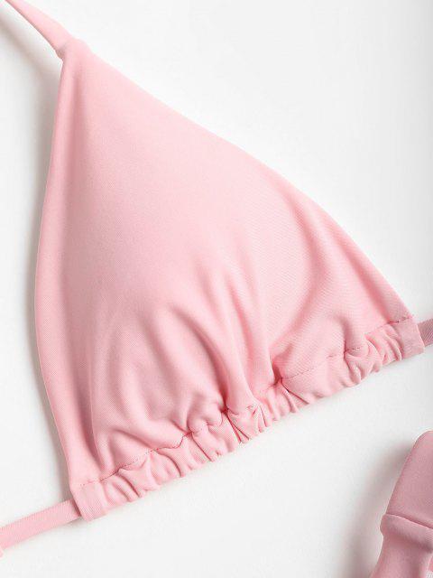 Cheeky Halter Hohe Schlitz Bikini Set - Schwein Rosa L Mobile