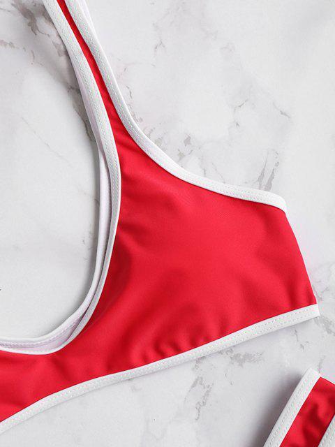 sale Contrast Trim Sport Bikini Set - CHERRY RED S Mobile