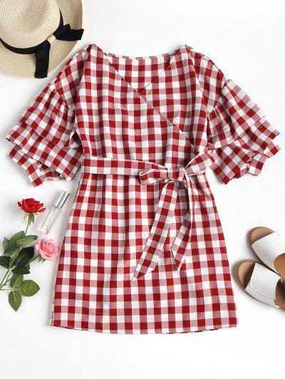Mini Plaid Wrap Dress - Chestnut Red Xl