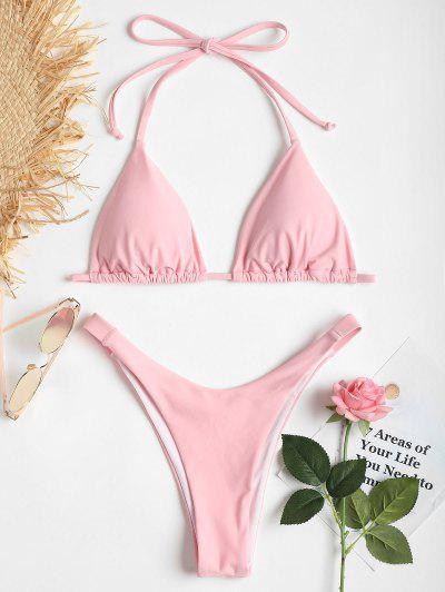 Bikini De Corte Alto Y Pliegues Halter - Cerdo Rosa S