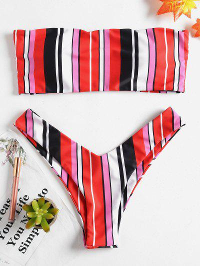 Colored Striped Bandeau Bikini Set - Multi-a L