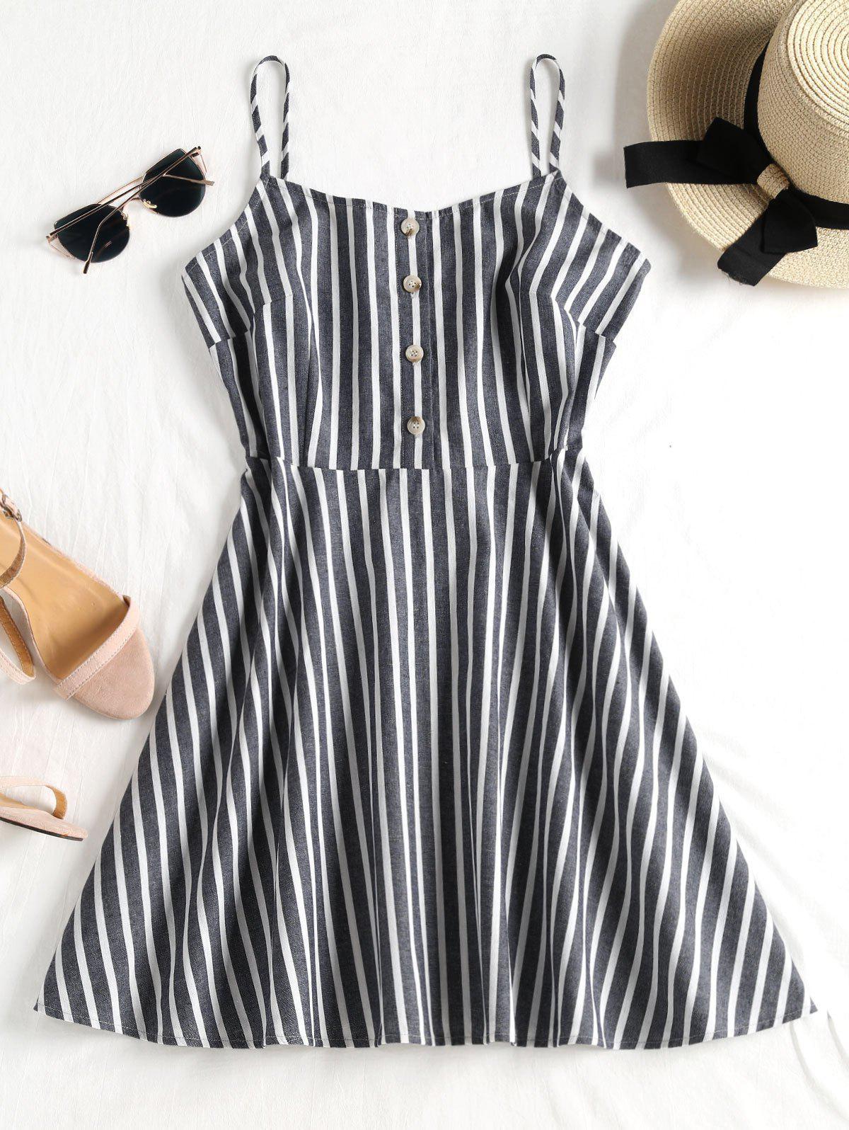 Buttoned Striped Cami