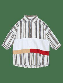 Blanco A Con Hombros Casual L Descubiertos Camisa Rayas fIzwYqW4