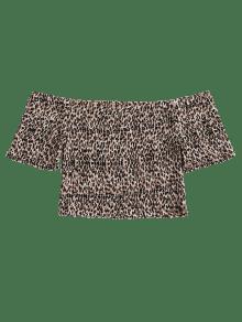 Leopardo La De Caf Deshilachado Del Parte Superior Hombro qUqTrfw