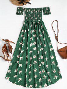 Con Verde Bosque Descubiertos Floral Vestido Hombros Mediana S 5wfOOq