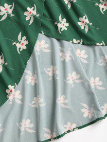 Hombros Verde Mediana Bosque Descubiertos Vestido S Floral Con pqxP7
