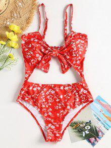 الأزهار قطع التدريجي ملابس السباحة معقود - أحمر M