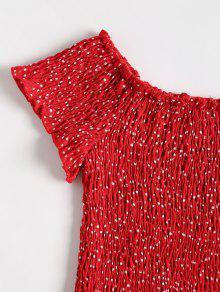 Rojo Lunares Blusa S Desgastada A FWUgUz
