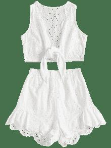 Ahuecados Conjunto Blanco De Anudados Cortos S Pantalones BROrqRWIx