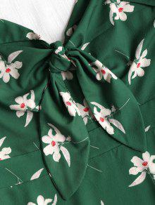 Mediana Con Verde Estampado Vestido Camisero Bosque M Floral qYgw1AHv