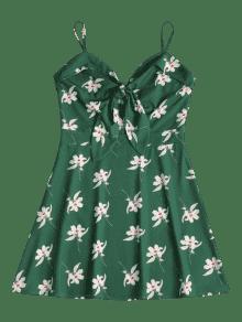 Verde Floral Bosque Estampado Mediana Camisero Vestido Con M TPxXUSwq