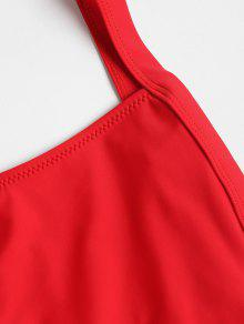 6069d40579f 67% OFF] 2019 Dropped Armhole Low Back Swimsuit In LOVE RED | ZAFUL