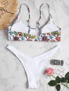 Blanco Estampado Plantas L De Bralette Grande Con Bikini Y Talla taxPngOqW8