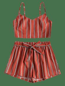 De o A Cortos Cami Casta 243;n Cintur Conjunto Pantalones Rojo Con Rayas M F6wxvdqB