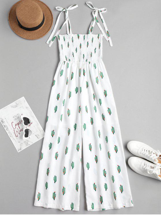 8871d982f5 34% OFF] 2019 Cactus Graphic Maxi Slip Jumpsuit In WHITE   ZAFUL