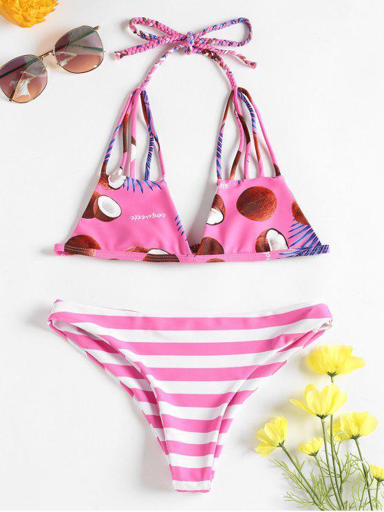 trendy Striped Caged Bikini Set - HOT PINK M