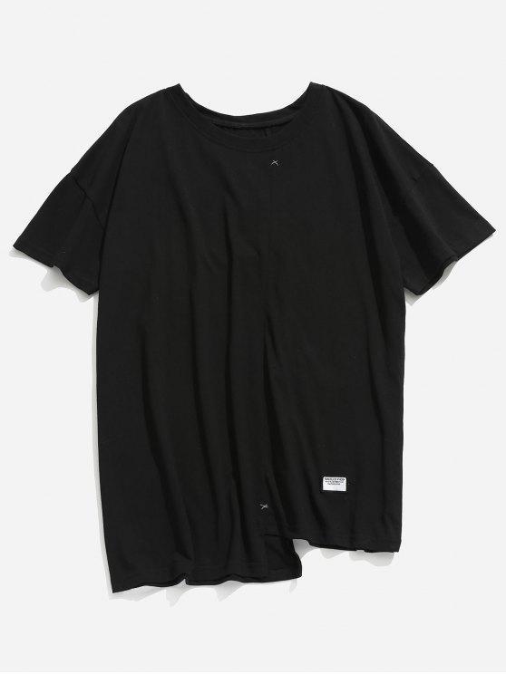 Camiseta asimétrica de dobladillo asimétrico - Negro L